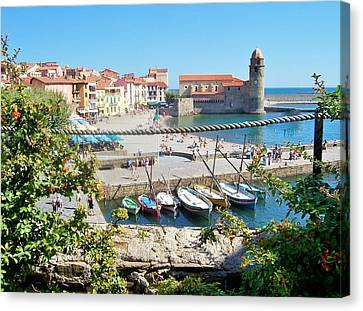 Collioure From Knights Of Templar Castle Canvas Print by Marilyn Dunlap