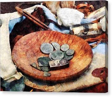 Colonial Coins Canvas Print by Susan Savad