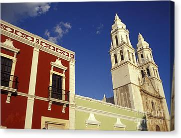 Canvas Print featuring the photograph Colonial Colors Campeche Mexico by John  Mitchell