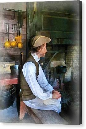 Colonial Man In Kitchen Canvas Print by Susan Savad