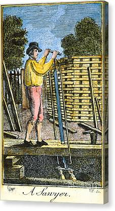 Colonial Man Canvas Print - Colonial Sawyer, 18th C by Granger