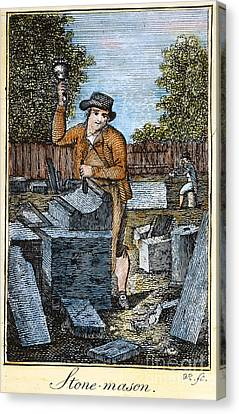 Colonial Stonemason, 18th C Canvas Print by Granger