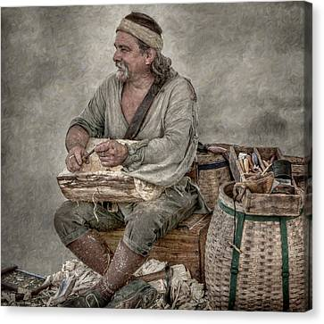 Colonial Woodcarver Portrait Canvas Print by Randy Steele