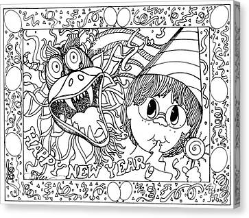 Color Me Card - New Years Canvas Print