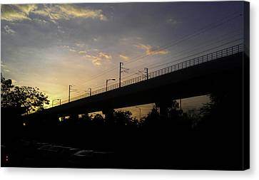 Color Of Sunset Over Metro Pillar In Delhi Canvas Print by Ashish Agarwal