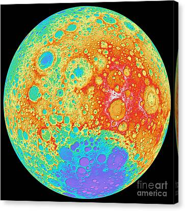 Color Shaded Relief Of The Lunar Canvas Print by Stocktrek Images