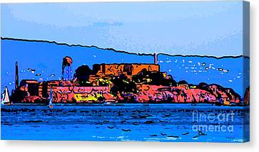 Alcatraz Canvas Print - Color Sketch Of Alcatraz In San Francisco by Wingsdomain Art and Photography