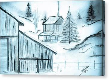 Canvas Print featuring the drawing Colorado Farm by Shannon Harrington