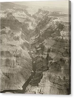 Colorado River And Grand Canyon In Monochrome Canvas Print by M K  Miller