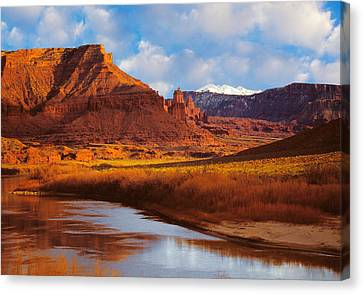 Colorado River At Fisher Towers Canvas Print by Utah Images