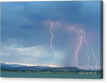 Colorado Rocky Mountains Foothills Lightning Strikes 2 Canvas Print by James BO  Insogna
