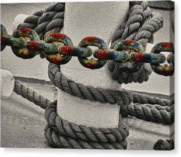 Canvas Print featuring the photograph Colored Chain by Kelly Reber