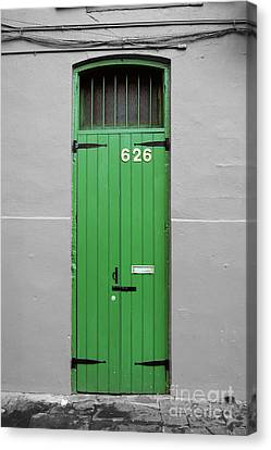 Colorful Arched Doorway French Quarter New Orleans Color Splash Black And White Canvas Print