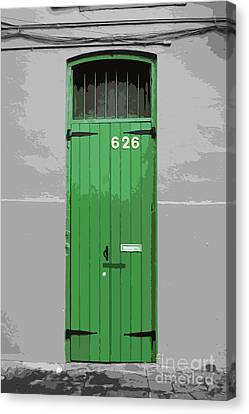 Colorful Arched Doorway French Quarter New Orleans Color Splash Black And White With Cutout Canvas Print