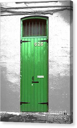 Colorful Arched Doorway French Quarter New Orleans Color Splash Black And White With Film Grain Canvas Print