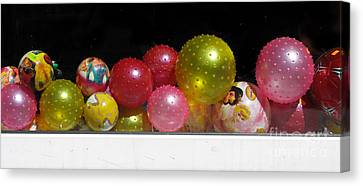 Colorful Balls In The Shop Window Canvas Print