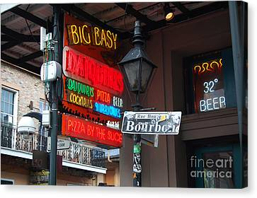 Colorful Big Easy Neon Sign On Bourbon Street Corner French Quarter New Orleans Canvas Print by Shawn O'Brien