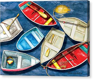 Canvas Print featuring the painting Colorful Boats by Anne Beverley-Stamps