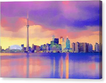 Colorful City Scape Canvas Print by Walter Colvin