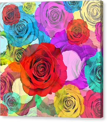 Occasion Canvas Print - Colorful Floral Design  by Setsiri Silapasuwanchai