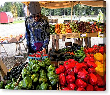 Canvas Print featuring the photograph Colorful Fruit And Veggie Stand by Kym Backland