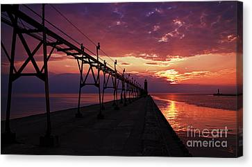 Colorful Grand Haven Pier Canvas Print by Joe Gee