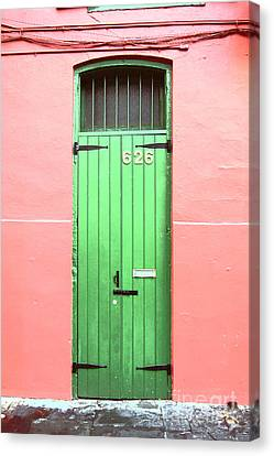 Colorful Green Arched Doorway French Quarter New Orleans Film Grain Digital Art Canvas Print
