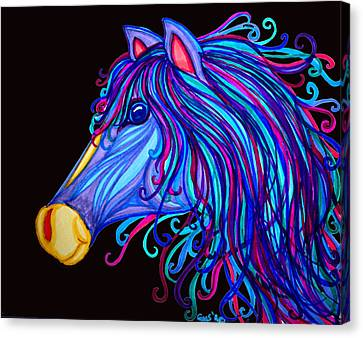 Colorful Horses Head Canvas Print by Nick Gustafson