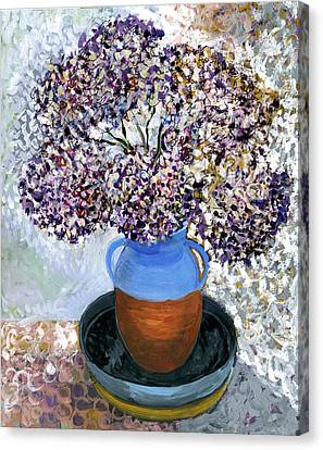 Colorful Impression Of Purple Flowers In Blue Brown Ceramic Vase Yellow Plate With Green Branches  Canvas Print by Rachel Hershkovitz