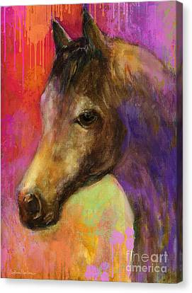 Horse Giclee Canvas Print - Colorful Impressionistic Pensive Horse Painting Print by Svetlana Novikova