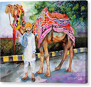Canvas Print featuring the painting Colorful India by Priti Lathia