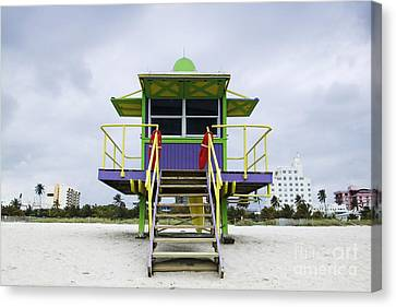 Colorful Lifeguard Station Canvas Print by Jeremy Woodhouse