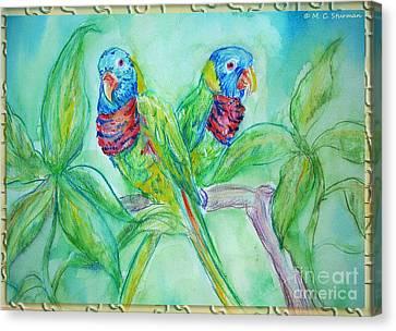 Colorful Lorikeet Couple Canvas Print by M C Sturman
