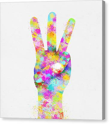 Closely Canvas Print - Colorful Painting Of Hand Point Three Finger by Setsiri Silapasuwanchai