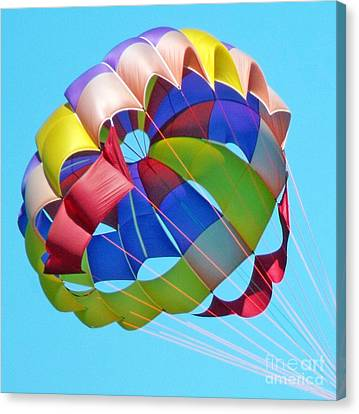 Canvas Print featuring the photograph Colorful Parachute by Val Miller