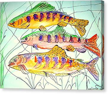 Colorful Trout Canvas Print by Janna Columbus