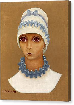 Colorful Young Woman Brown Eyes Blue White Hat Collar  With Ribbon Small Lips Canvas Print by Rachel Hershkovitz
