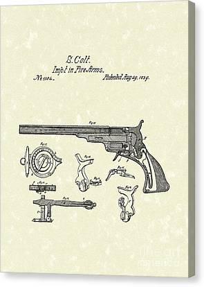 Colt Firearms 1839 Patent Art Canvas Print by Prior Art Design