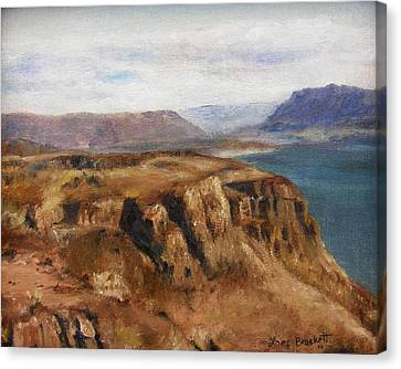 Canvas Print featuring the painting Columbia River Gorge I by Lori Brackett