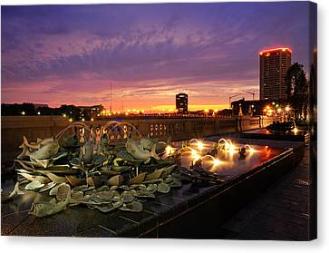 Columbus Scioto Mile II Canvas Print by Dick Wood