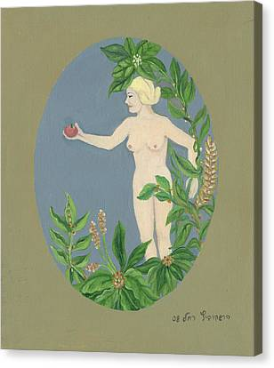 Come And Get It Eva Offers A Red Apple  To Adam In Green Vegetation Leaves Plants And Flowers Blond  Canvas Print by Rachel Hershkovitz