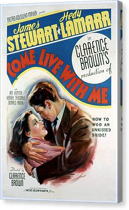 Come Live With Me, Hedy Lamarr, James Canvas Print by Everett