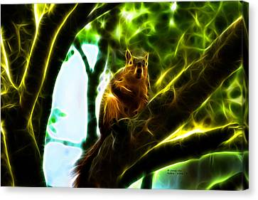 Come On Up - Fractal - Robbie The Squirrel Canvas Print by James Ahn