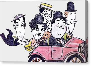 1930s Movies Canvas Print - Comedians In Model T by Mel Thompson