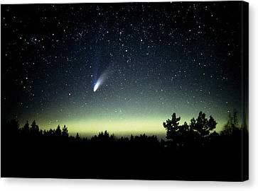 Comet Hale-bopp And Aurora Borealis, 30 March 1997 Canvas Print