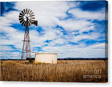 Comet Windmill And Clouds Canvas Print