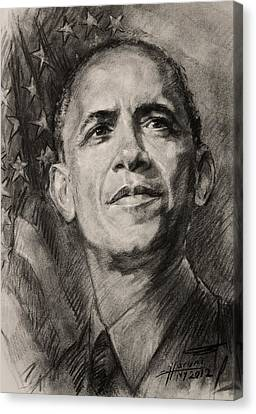Barack Obama Canvas Print - Commander-in-chief by Ylli Haruni