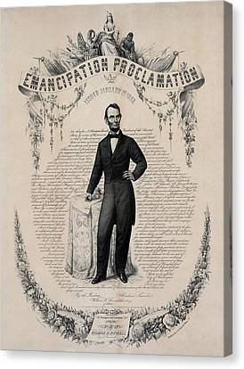 Commemorative Print Of Abraham Lincoln Canvas Print by Everett
