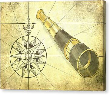 Compass And Monocular Canvas Print
