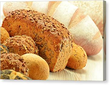 Composition With Bread And Rolls Canvas Print by T Monticello